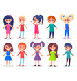 smiling kids set of boys and girls in color cloth vector image