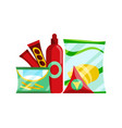 snack product set fast food snacks ketchup and vector image