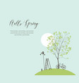 spring landscape with green tree and bike vector image vector image