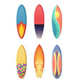 surfboards set different retro colors vector image vector image