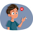 teen boy about to make bad decision on smoking vector image