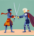 two warriors with swords fighting vector image vector image