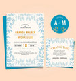 wedding invitation with vintage leaf frame vector image vector image