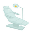 white dentists armchair and special lamp isolated vector image