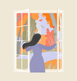 woman opening window with a beautiful view vector image