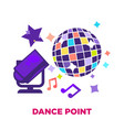 dance point promotional poster with shiny disco vector image