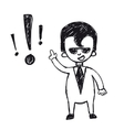 funny cartoon businessman with exclamation mark vector image