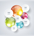 white paper circles with bright spheres on a vector image