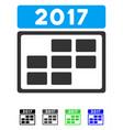 2017 calendar week grid flat icon vector image vector image