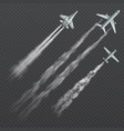 airplanes and military fighters with condensation vector image vector image