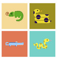 assembly flat icons exotic wild reptiles vector image vector image