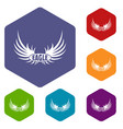 bird wing icons hexahedron vector image vector image