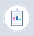 business graph document data chart clipboard icon vector image