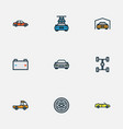 car icons colored line set with sedan prime-mover vector image vector image
