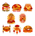 chinese new year badge of oriental spring festival vector image vector image