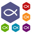 christian fish symbol icons hexahedron vector image vector image