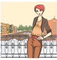 City scene and young girl vector image vector image