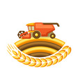 combine harvester with ripe wheat vector image