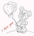 contour coloring for children little boy bear vector image