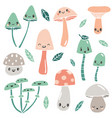 cute cartoon mushrooms with faces and leaves vector image vector image