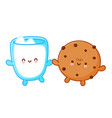 cute funny cookie with chocolate chips vector image vector image