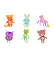 cute toy animals collection owl frog bear cat vector image vector image