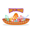 day of the dead skeletons and sombrero vector image vector image