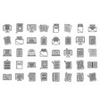 editor content icons set outline style vector image vector image