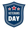 emblem veterans day logo flat style vector image vector image
