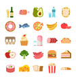 flat food icons menu planning elements fruits vector image