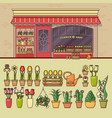flower shop and set of cute various flower icons vector image vector image