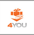 fun gift and hand with orange color vector image vector image