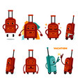 funny airplane travelling bag character set vector image vector image