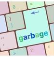 garbage word on computer pc keyboard key vector image