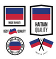 haiti quality label set for goods vector image vector image