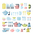 kitchen dishes and glassware flat vector image