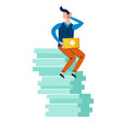 man sitting on stack documents with laptop vector image
