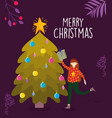 merry christmas woman with sweater and gift vector image vector image