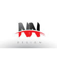 nn n brush logo letters with red and black swoosh vector image vector image