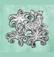 octopus with lemon and parsley vector image vector image