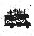 outdoor camping emblem with camper van vector image vector image
