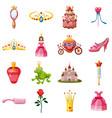princess fairytale doll icons set cartoon style vector image vector image