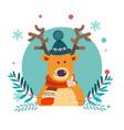 reindeer wearing knitted warm hat winter vector image