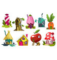 set fairytale houses collection cartoon vector image vector image