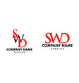 set initial letter swd logo template design vector image vector image