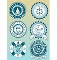 Set of colored round badges for sea and yacht club vector image vector image