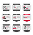 set web thumbnails with seo symbols vector image vector image