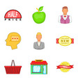 shopping opportunity icons set cartoon style vector image vector image