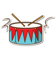 sticker design with drum and drum sticks isolated vector image