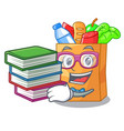 student with book food bag foil or paper cartoon vector image